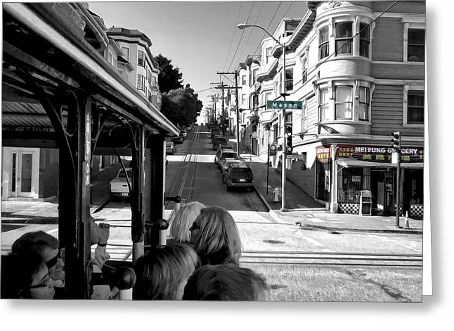 Mei Fung Grocery From Hyde St Cable Car - San Francisco Greeting Card by Daniel Hagerman