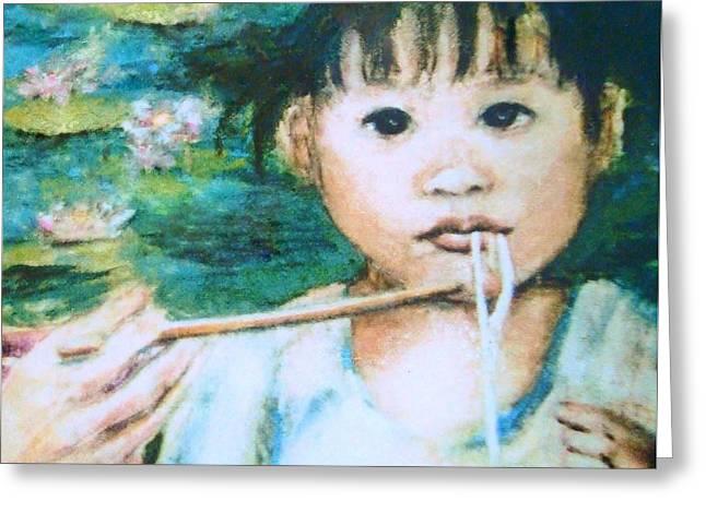 Mei Mei Eat Eat Greeting Card by Shannon Lee