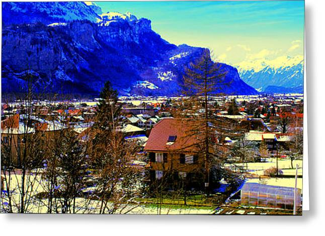 Meiringen Switzerland Alpine Village Greeting Card