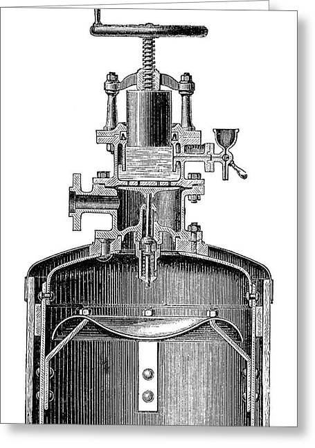 Mekarsky Compressed Air Engine Greeting Card by Science Photo Library