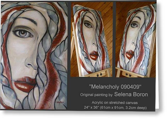 Greeting Card featuring the painting Melancholy 090409 by Selena Boron