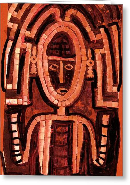 Melanesian Icon Greeting Card by Anne-Elizabeth Whiteway
