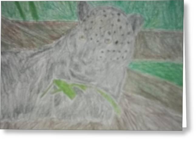 Melanistic Jaguar Drawing On Paper Greeting Card by William Sahir House
