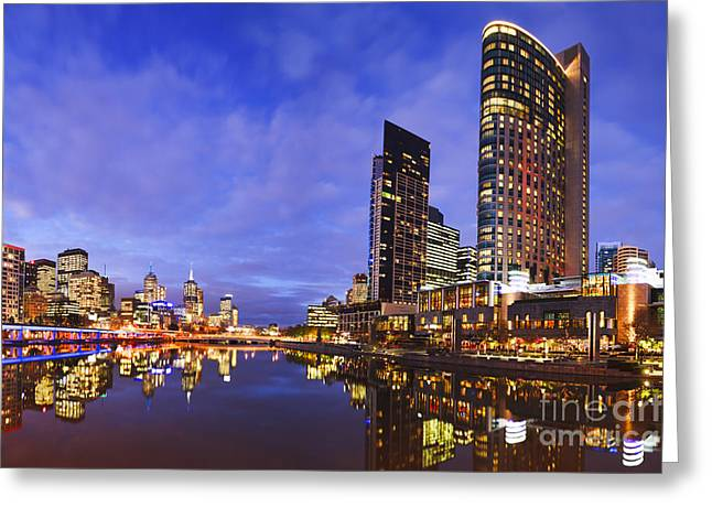 Melbourbe Skyline And Yarra River At Twilight Square Greeting Card by Colin and Linda McKie