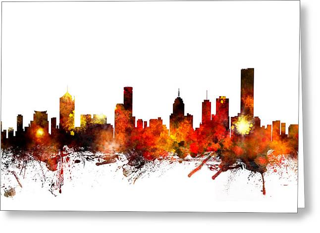 Melbourne Australia Skyline Greeting Card by Michael Tompsett