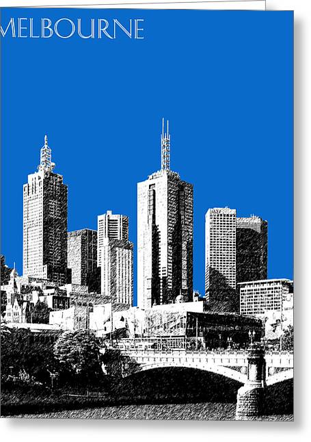 Melbourne Skyline 1 - Blue Greeting Card by DB Artist