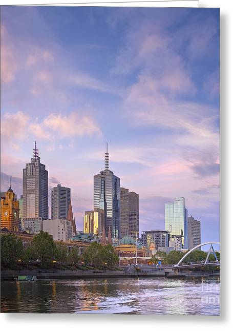 Melbourne Skyline Twilight Square Greeting Card