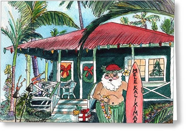 Mele Kalikimaka Hawaiian Santa Greeting Card