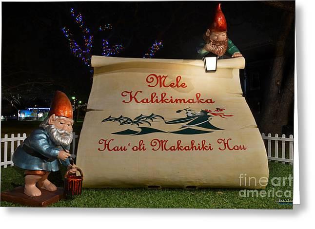 Mele Kalikimaka Sign And Elves Greeting Card