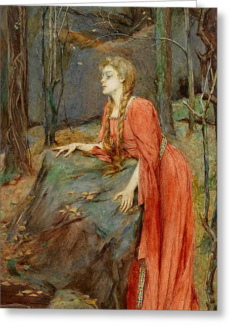 Melisande Greeting Card by Henry Meynell Rheam