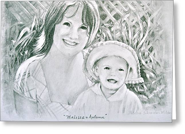 Greeting Card featuring the painting Melissa And Autumn by Patricia Schneider Mitchell
