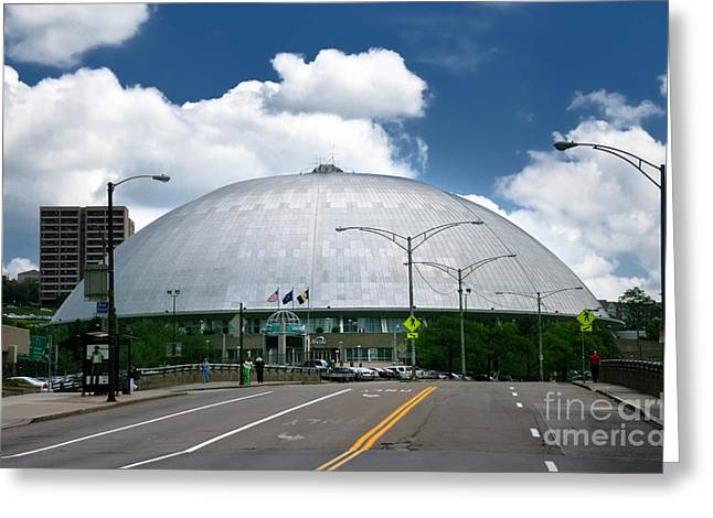 Mellon Arena Pittsburgh Pa Greeting Card by Amy Cicconi