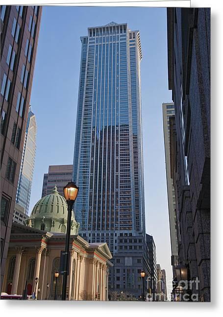 Mellon Bank Center Penn Center Market West Skyscrapers Phila Pa Greeting Card by David Zanzinger
