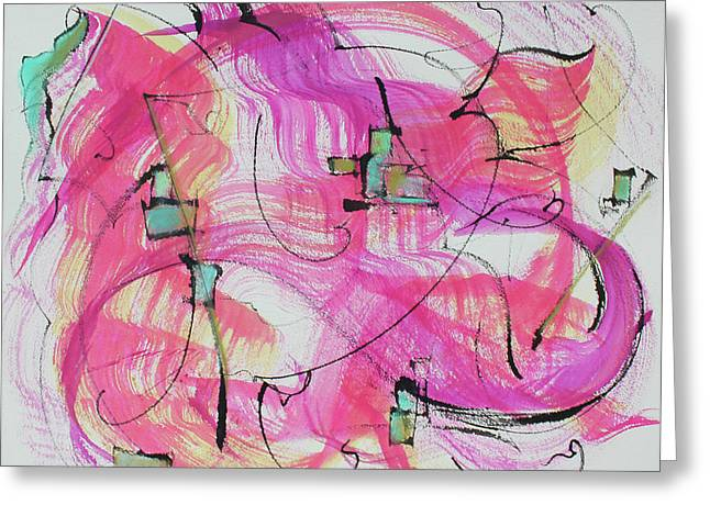 Melody In Magenta   Insight Comes Greeting Card by Asha Carolyn Young