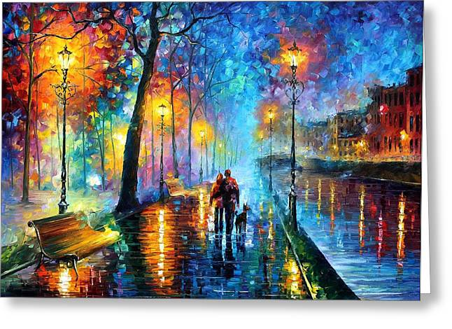 Melody Of The Night - Palette Knife Landscape Oil Painting On Canvas By Leonid Afremov Greeting Card