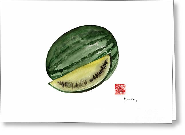 Melon Green Watermelon Treasures Kitchen Fruit Fruits Yellow Garden Tree Greeting Card