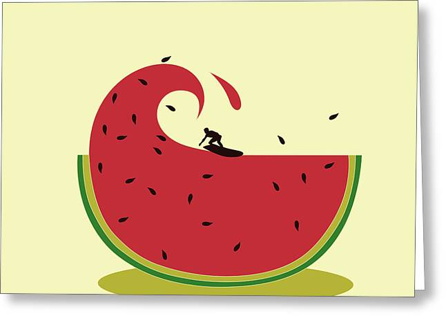 Melon Splash Greeting Card by Neelanjana  Bandyopadhyay
