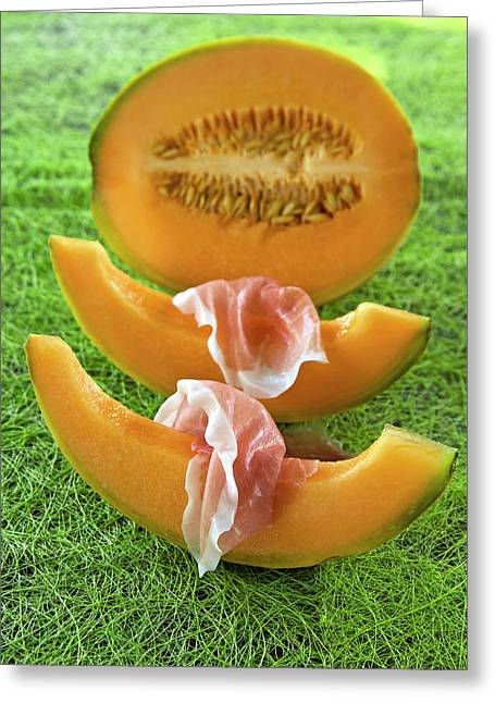 Melon Wedges (cucumis Melo Greeting Card by Nico Tondini