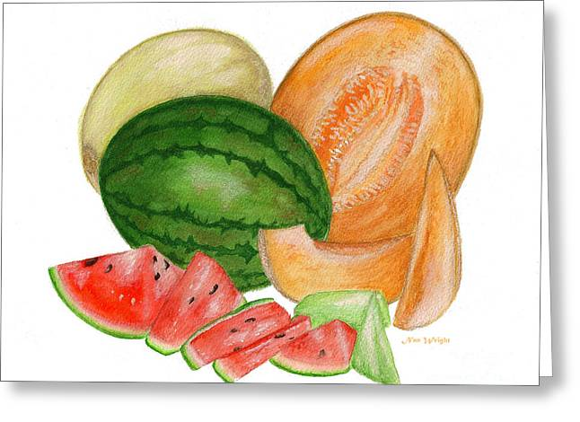 Greeting Card featuring the painting Melons  by Nan Wright