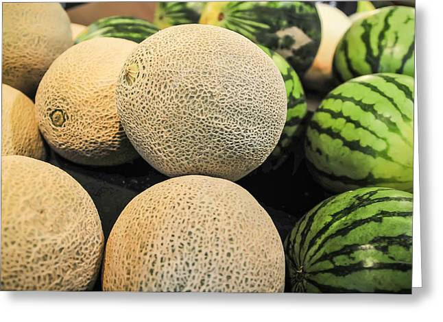 Melons On Display Shelf At The Supremarket Greeting Card