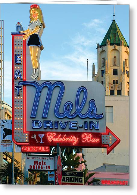 Mel's Drive In Greeting Card by Bill Jonas