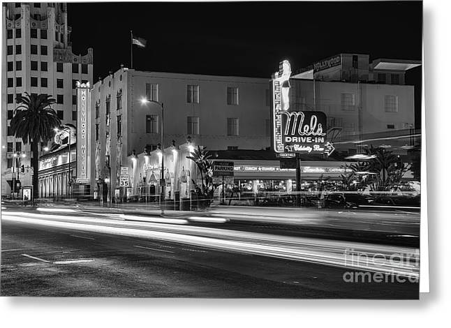 Mel's Drive-in Black And White Greeting Card by Eddie Yerkish