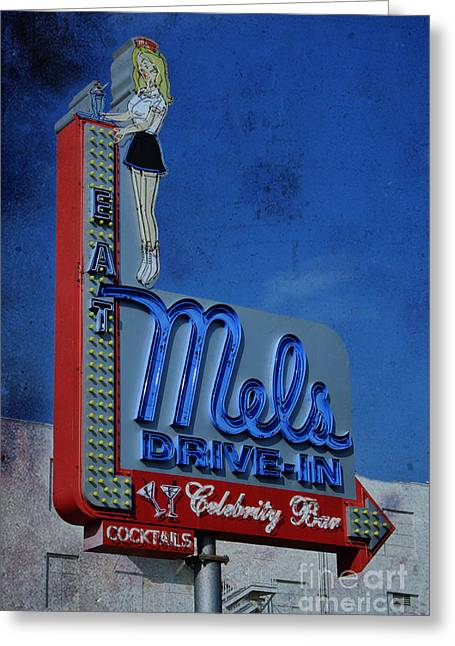 Mels Drive In Celebrity Bar Greeting Card by Janice Rae Pariza