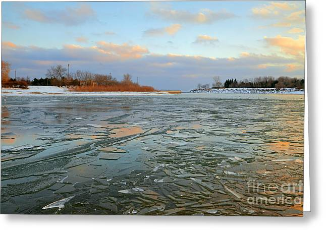 Melting Ice At Dusk Greeting Card by Charline Xia