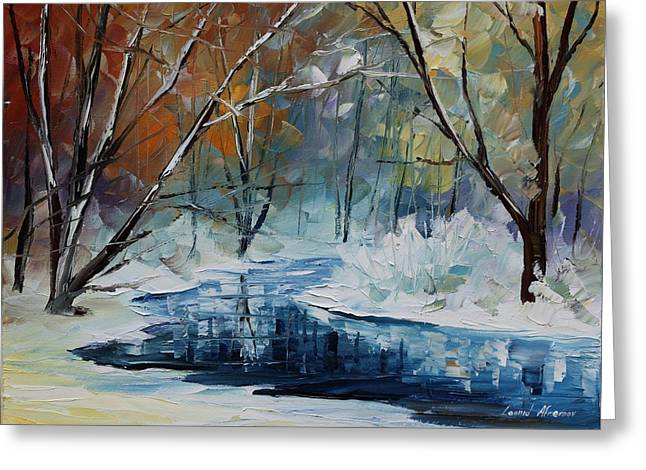 Lost In Winter - Palette Knife Oil Painting On Canvas By Leonid Afremov Greeting Card