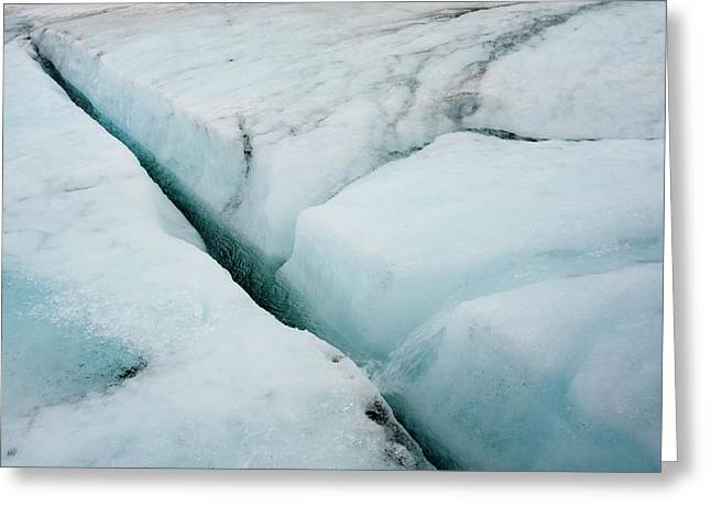 Meltwater On Langjokull Ice Cap Greeting Card by Ashley Cooper