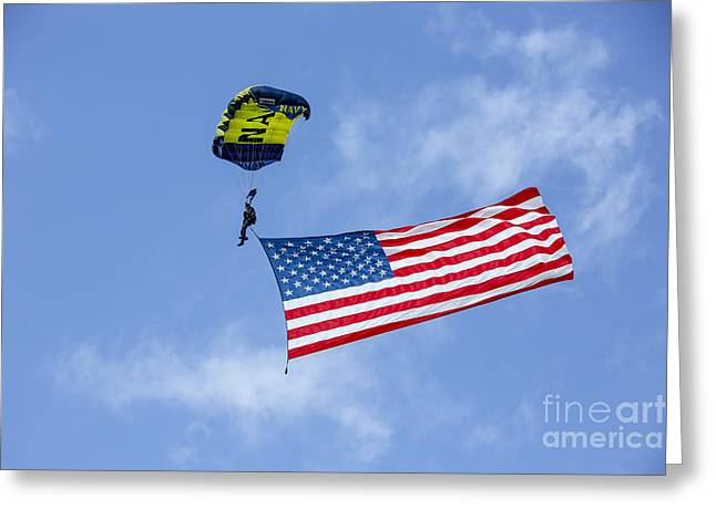 Member Of The U.s. Navy Parachute Team Greeting Card by Michael Wood