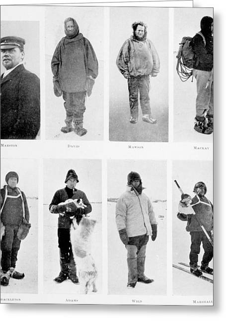Members Of The British Antarctic Expedition At The Start Of The Journey Greeting Card by English School
