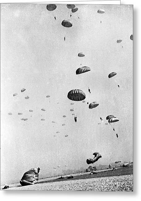 Members Of The First Allied Airborne Army Drop Behind German Pos Greeting Card by Underwood Archives