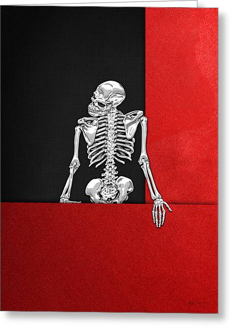 Memento Mori - Silver Human Skeleton On Red And Black Canvas Greeting Card