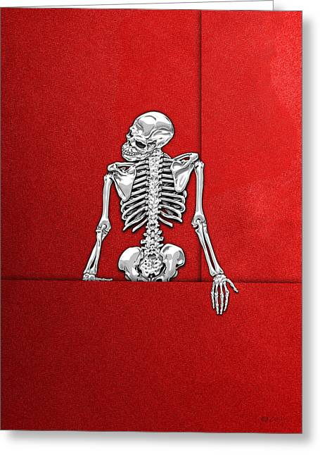 Memento Mori - Silver Human Skeleton On Red Canvas Greeting Card