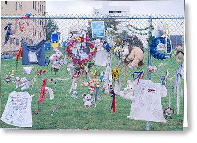 Mementos On Chain Link Fence, Memorial Greeting Card by Panoramic Images