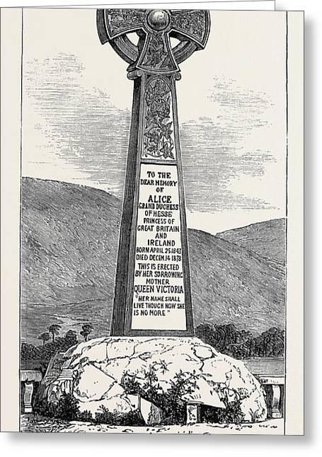 Memorial Cross Of Princess Alice At Balmoral 1880 Greeting Card by English School