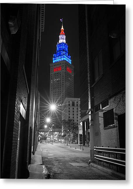 Memorial Day Terminal Tower In Cleveland Greeting Card