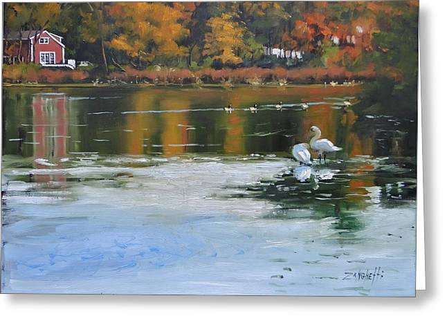 Memorial Pond II Greeting Card by Laura Lee Zanghetti