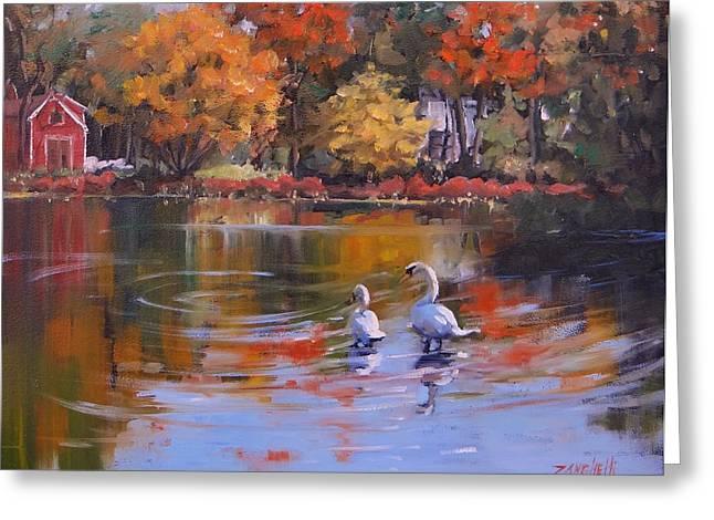 Memorial Pond Greeting Card by Laura Lee Zanghetti