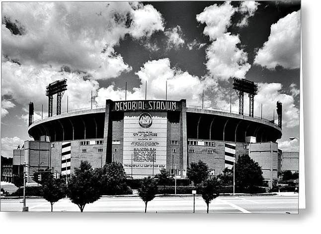 Memorial Stadium Greeting Card by Benjamin Yeager
