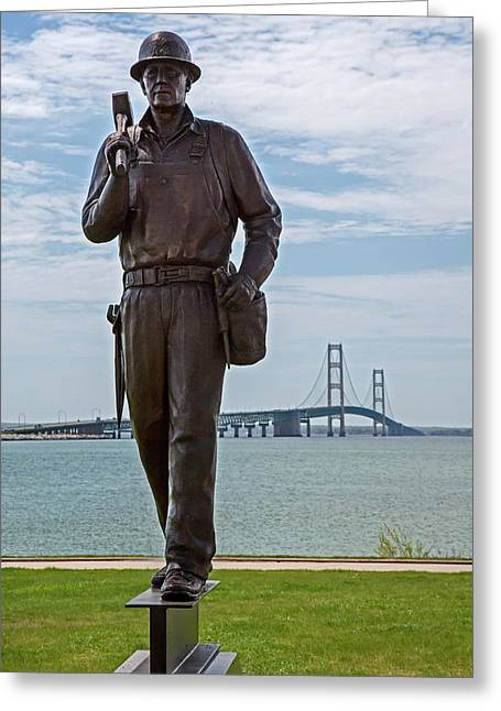 Memorial To Bridge Workers Greeting Card by Jim West
