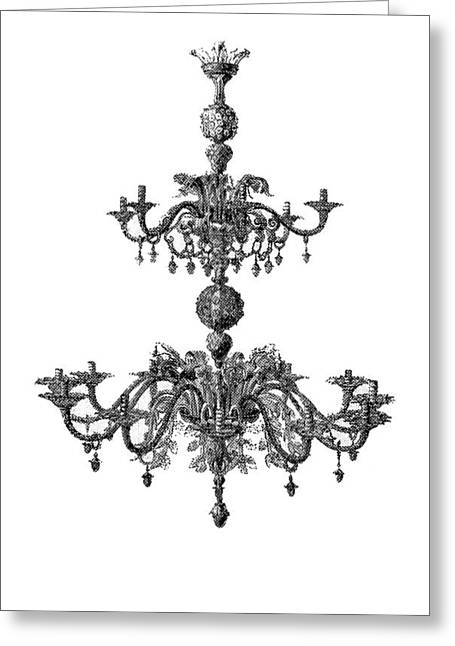 Memories Of Chandeliers Past - Black Greeting Card by KM Russell