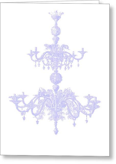 Memories Of Chandeliers Past - Blue Greeting Card by KM Russell