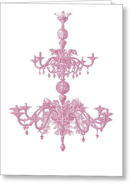 Memories Of Chandeliers Past - Mauve Greeting Card by KM Russell