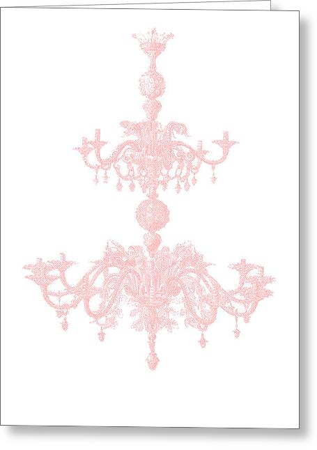 Memories Of Chandeliers Past - Pink Greeting Card by KM Russell