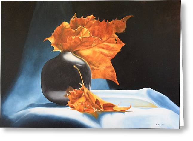 Memories Of Fall - Oil Painting Greeting Card by Roena King