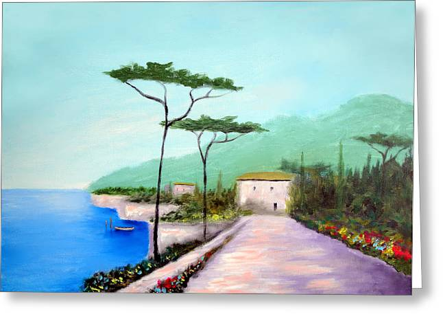 Memories  Of Lake Como Greeting Card by Larry Cirigliano
