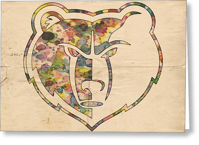 Memphis Grizzlies Logo Art Greeting Card by Florian Rodarte