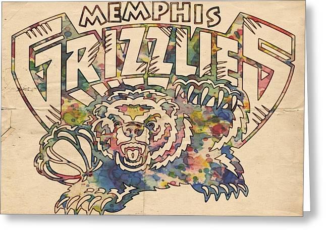 Memphis Grizzlies Poster Vintage Greeting Card by Florian Rodarte